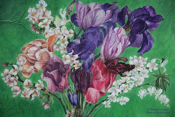 Bouquet de printemps (détail), gouache et aquarelle / watercolor and gouache