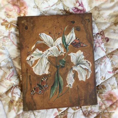 Lys, paons du jour, gouache et aquarelle / gouache and watercolor