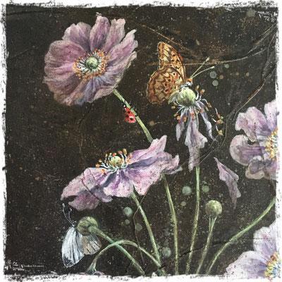 Anémones du Japon, papillons et coccinelle (détail), acrylique / acrylic