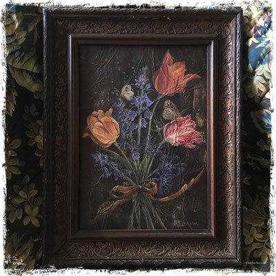 Bouquet d'avril au ruban, acrylique / acrylic