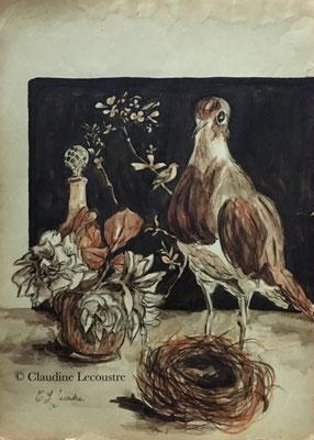 Nature morte au nid, aquarelle, sépia et encre brune / watercolor, sepia and brown ink