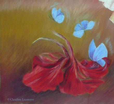 Capucine et papillons bleus / Nasturtium and blue butterflies, pastel à l'huile / oil pastel