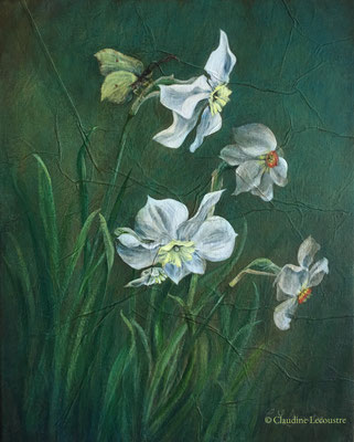 Narcisses et papillon citron, acrylique / acrylics