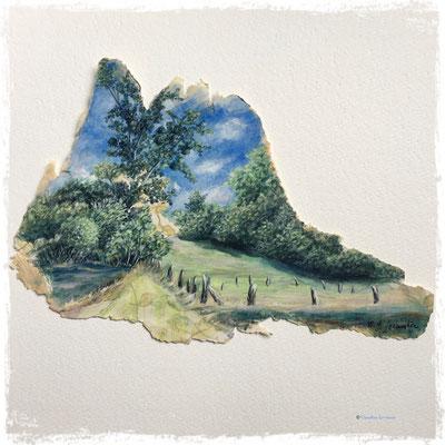 Paysage de papier, acrylique sur lambeaux de papier peint ancien / acrylic on vintage wallpaper pieces
