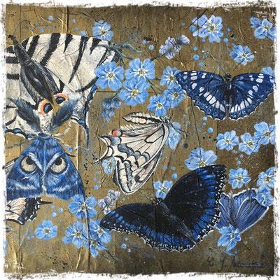 La collection bleue (détail), acrylique sur carrés de papier de soie / acrylic on silk paper squares