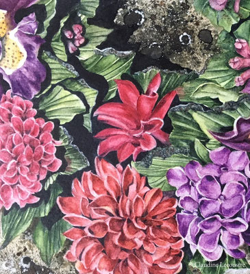 Fleurs tombales II (détail), aquarelle et rehauts de gouache / watercolor and gouache highlights