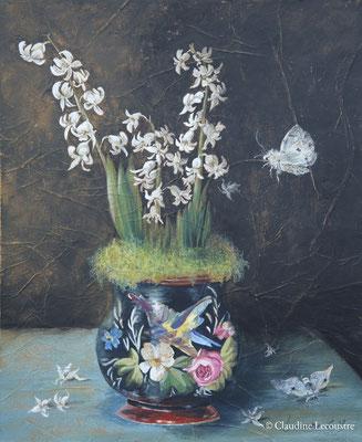 Jacinthe blanche et papillons de nuit / White hyacinth and moths, gouache