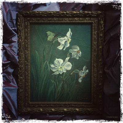 Narcisses et papillon citron, acrylique / acrylic