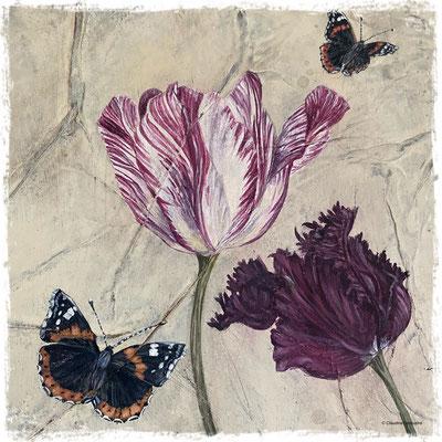 Dernières tulipes et premiers vulcains (détail), acrylique /acrylic