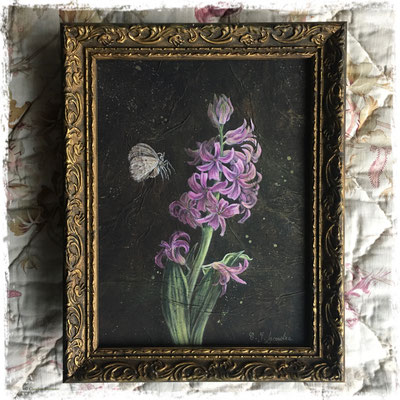 Jacinthe rose et phalène brumeuse, acrylique / acrylic