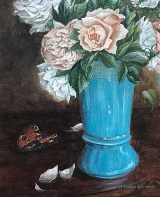 Les deux vases (détail), gouache, aquarelle et caséine / gouache, watercolor and casein
