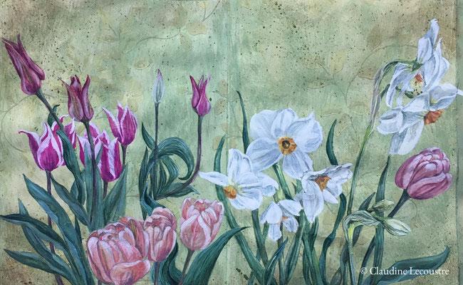 Bordure d'Avril / April mixed border, étude sur papier peint ancien, gouache et aquarelle / sketchbook study, watercolor and gouache on vintage wallpaper