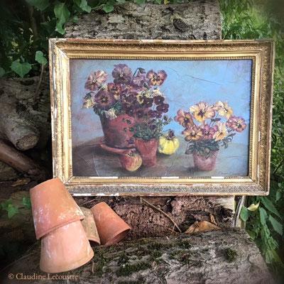 Pensées (avec cadre ancien / with antique frame), gouache et aquarelle / watercolor and gouache