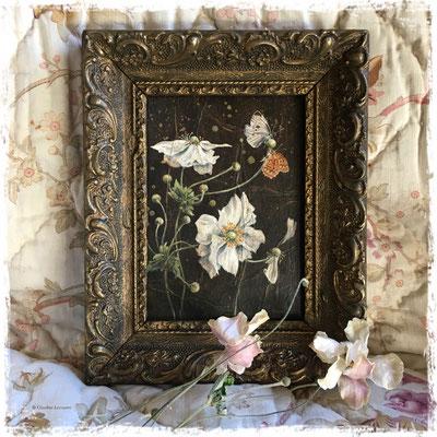 Anémones et papillons, acrylique et pastel sec / acrylic and dry pastel