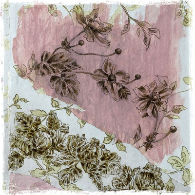 Anémones du Japon et choux,  encre sepia et acrylique sur lambeau de papier peint / sepia ink and acrylic on vintage wallpaper piece