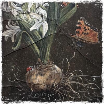Jacinthe blanche, grandes tortues et coccinelles (détail), acrylique / acrylic