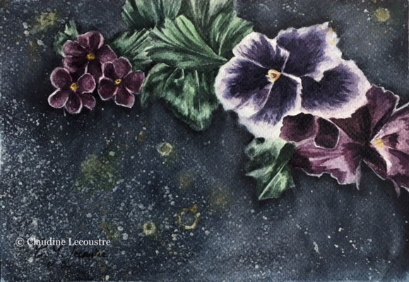 Fleurs tombales I, aquarelle et rehauts de gouache / watercolor and gouache highlights