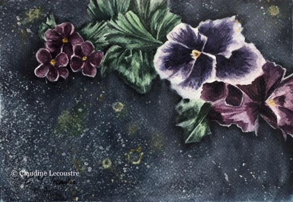 Fleurs tombales I, aquarelle et rehauts de gouache / watercolor and gouache highlights