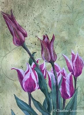 Bordure d'Avril (détail) / April mixed border (detail), étude, aquarelle et gouache /study, watercolor and gouache
