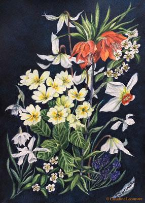 Printemps, aquarelle et pastel / watercolor and pastel
