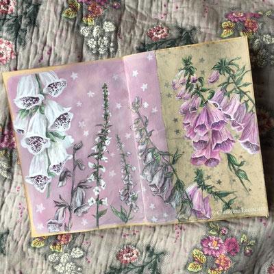 Digitalis, carnet / sketchbook, mixed media