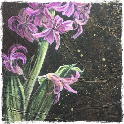 Jacinthe rose et phalène brumeuse (détail), acrylique / acrylic