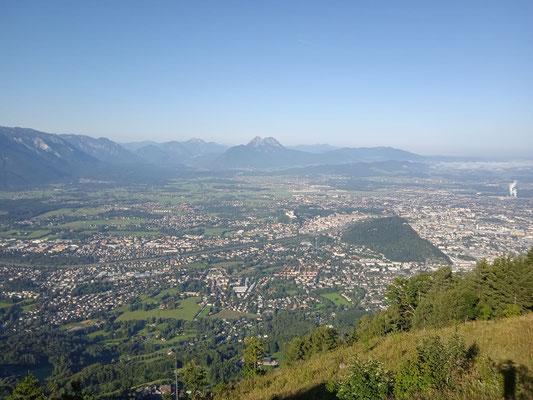 Blick vom Gaisberg nach Salzburg und Bayern