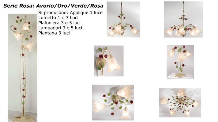 Serie ROSA in ferro verniciato a polvere AVORIO, spennellato a mano ORO e VERDE (rose verniciate a polvere ROSA)
