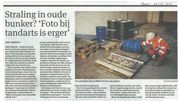Sloop Voormalig Versnellergebouw Science Park Amsterdam | opdrachtgever Nikhef | Aanwezigheid (licht) Radioactieve Materialen