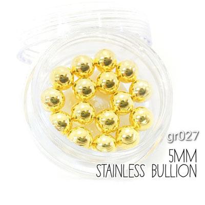 ケース入り 5mm 高品質ステンレスボール レジンやネイルなどに ゴールド色【gr027g】
