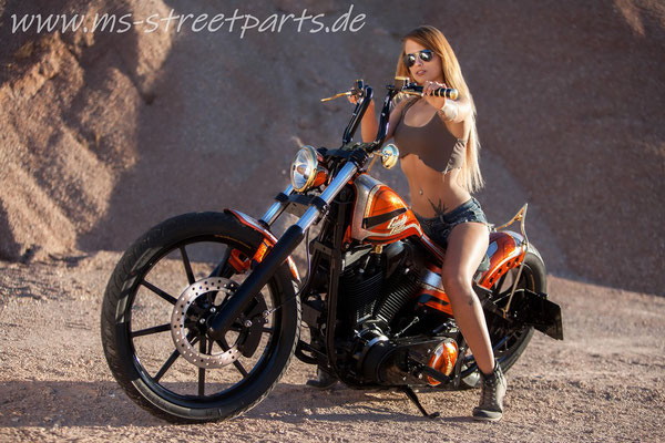 Candy Chop Custom Bike MS StreetParts Wenzenbach Customize Harley Davidson Candy Glitter Marcus Pfeil Painting Model Sabine d'Craine
