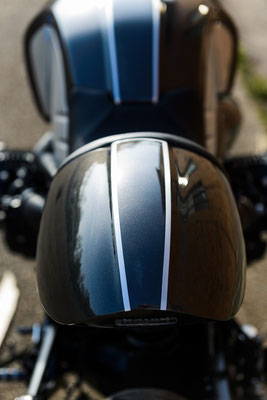 BMW R nineT Umbau Customize MS StreetParts Cafe Racer Heck Pinstripes