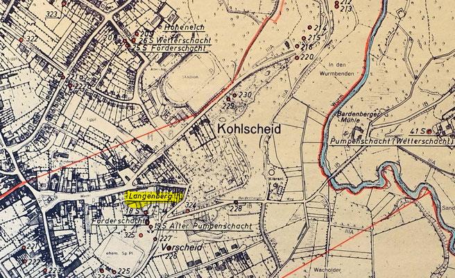 """Ausschnitt """"Alte Schächte"""" Kohlscheid - Quelle: Markscheiderei Anna 1970"""
