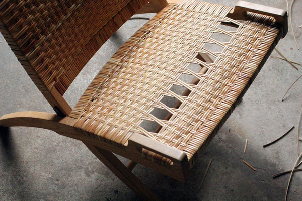 folding chair 座面 籐 張替