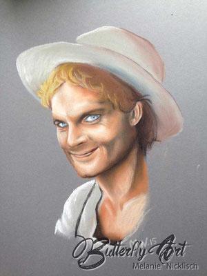 Terence Hill/ Pastellkreide auf Karton 50x50 cm/ zu verkaufen für 120,-€
