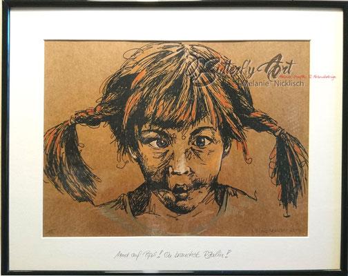 """aus der Kleinserie """"Pippi-Langstrumpf"""", Siebdruck mit Pastellkreide, 40 cm x 50 cm"""