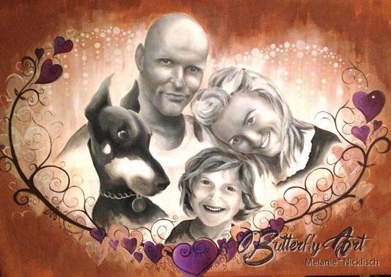 Familienportrait nach Fotovorlage mit Airbrush und Acrylfarbe