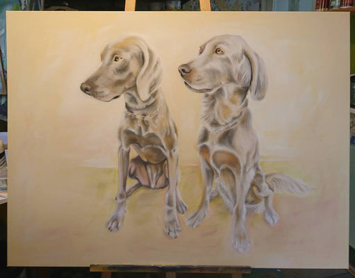 Hunde in Acryl und Airbrush auf Leinwand gemalt