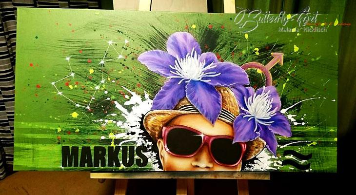 Portrait ganz individuell in Acryl mit Schwarzlichteffekt, Sternzeichen, Sternbild, Name, und Lieblingsblume/ 50 cm x 100 cm