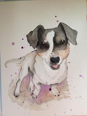 Hund gemalt in Aquarelltechnik wurde als Tattoovorlage verwendet