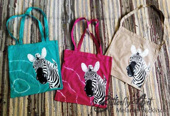 Kleinserie Zebra-Baumwollbeutel (noch 9 von 20 Stück da)/ Stück 15,-€