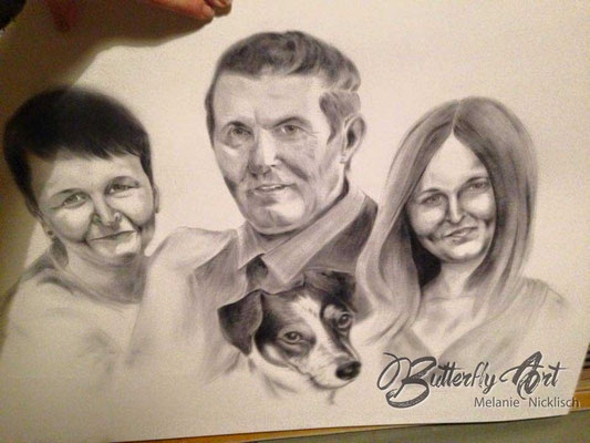 Familienportrait/ Trockener Ölpinsel/ 70x50 cm