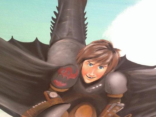 """Wandbemalung an einer Dachschraege mit """"Dragons"""", Detailansicht"""