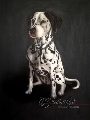 Dalmatiner gemalt auf Leinwand mit elegantem, schwarzen Hintergrund
