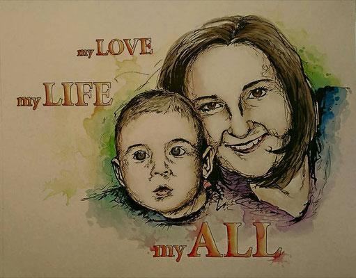 """Portrait """"Mutter mit Kind"""" und Schriftzug nach Wunsch, nach Fotovorlage"""