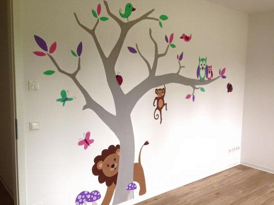 Wandmalerei mit Pastellfarben im Kinderzimmer Teil 1