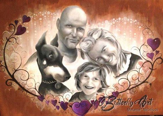 Familienportrait/ Acryl-Airbrush-Mischtechnik/ 100x70 cm