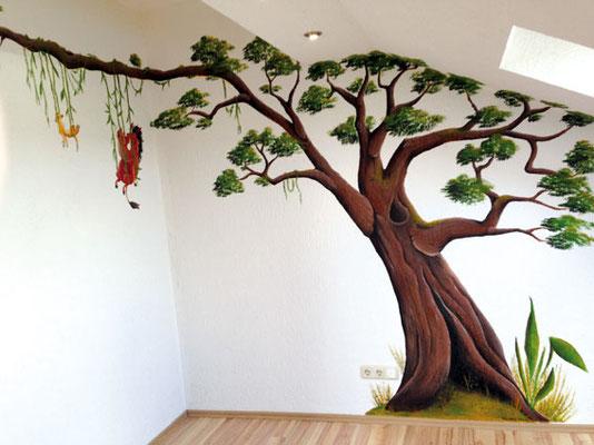 Wandmalerei Dschungel, Lianenbaum