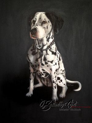 Dalmatinerhündin/ Acryl-Airbrush-mix auf Leinwand 60x80cm