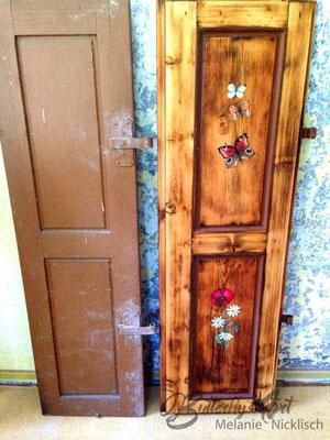 Fensterladen-Bemalung Vorher/Nachher